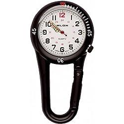 Klox Black Clip On Carabiner Metal Fob Watch White Dial Paramedic Doctor Nurse Unisex Men Women