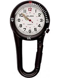 Klox - Reloj de bolsillo con esfera negra y mosquetón de clip para doctores y enfermeros, unisex, color blanco