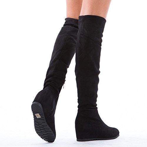 Ideal Shoes–Stivaletti con zeppa effetto camoscio Joanis Nero