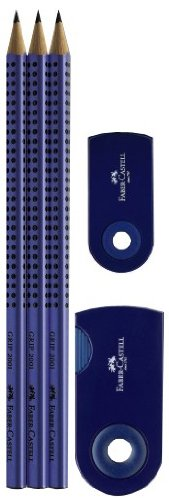 Faber-Castell 217070 - Bleistiftset GRIP 2001 Sleeve mit 3 Bleistiften, 1 Radierer + 1 Spitzdose, blau