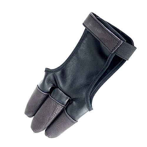 Singeru Bogenschieß-Handschuhe, Leder, Fingerschutz, traditioneller Schießhandschuh, passt für die Jagd, traditionelle Lange Bogen, rechts, Linke Hand verstellbar -