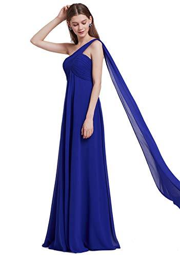 Ever-Pretty Robe de Soirée Robe de Demoiselle d'honneur Maxi Elegante Une Epaule sans Manche 38 Bleu Saphire