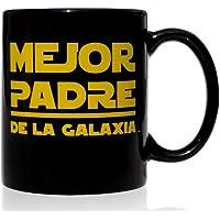 Taza mug desayuno de cerámica negra 32 cl. Modelo Mejor Padre de la Galaxia