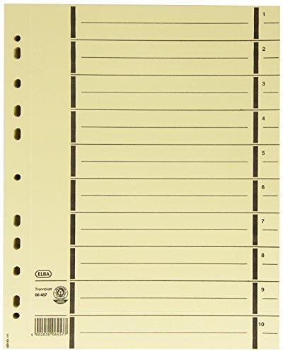 ELBA 400004671 Trennblätter aus Recycling-Kraftkarton für DIN A4 100er Pack mit Perforation mit Linienaufdruck chamois Trennlaschen Trennblätter Ordner Register Kalender Blauer Engel