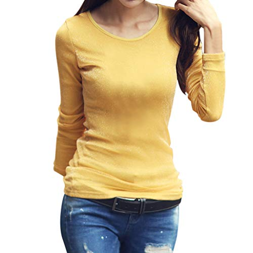 Haughtily Frauen Stretch Slim Casual Bottoming Top Volltonfarbe Rundhals Langarm Multi Color Casual Herbst Pullover Tunika -