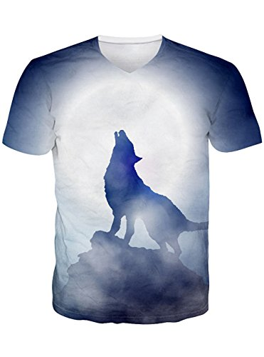 Leapparel Herren Wildlife Wolf Moon T-Shirt V Neck Tops (Grafiken Schlanke)