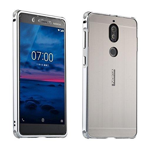 Nokia 7 UltraSlim Case Premium Aluminium Schutzhülle Rahmen für Nokia 7, Silber