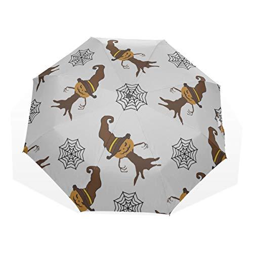 Reiseregenschirm Spinnennetz und Halloween-Urlaub Anti-UV-Kompakt 3-Fach Kunst Leichte Faltschirme (Außendruck) Winddicht Regen Sonnenschutzschirme Für Frauen Mädchen Kinder (Niedliche Klebeband Halloween-kostüme)