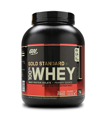 Optimum Nutrition (ON) Gold Standard 100!% Whey Protein Powder - 5 lbs, 2.27 kg (Double Rich Chocolate)