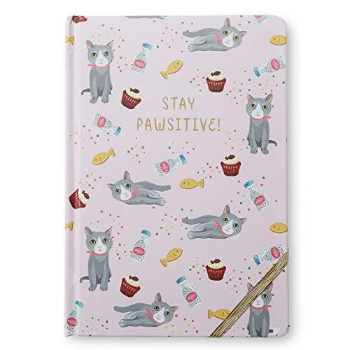 Tri-coastal design - quaderno con fogli a righe con copertina con gatto - taccuino rilegato rosa - perfetto da mettere in borsa o nello zainetto per scuola, casa o ufficio