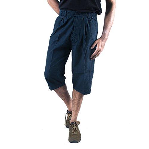 0-Degree Shorts 3by4 knee length Three Fourth Capri Men Chinos Cotton Bermuda Blue 30 (3by4ClassicBlue30)