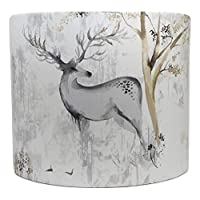 """Stag Lampshade for A Ceiling Light Shade Drum Woodland Deer Trees Antlers Rustic Highland Scottish Themed Bedroom Room Decor Accessories Gifts (10"""")"""