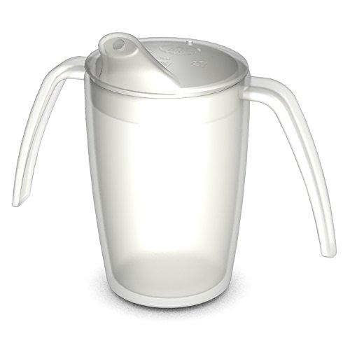 Ornamin Gobelet à Deux Anses 220 ml Transparent avec Couvercle à Bec Verseur (Modèle 816 + 806) / aide à boire, gobelet ergonomique, gobelet réutilisable