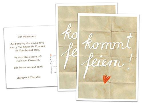 50 Hochzeitseinladungen inkl. Druckservice - Kommt feiern! - mit individuellem Text auf der Rückseite Hochzeitskarten Einladungskarten Recyclingpapier