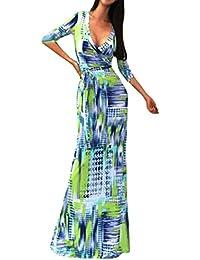 FantaisieZ Robe Femmes Manches Courte Imprimé Rayé Multicolore Robe De  Plage Longue Bohême Robe Décontractée Robe fef5844d8e6
