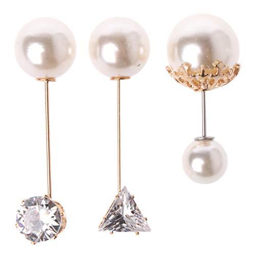 Suoryisrty 3Pcs Sortierte Imitation Perle Kristall Broschen Sicherheitsnadeln Set für Frauen Schmuck