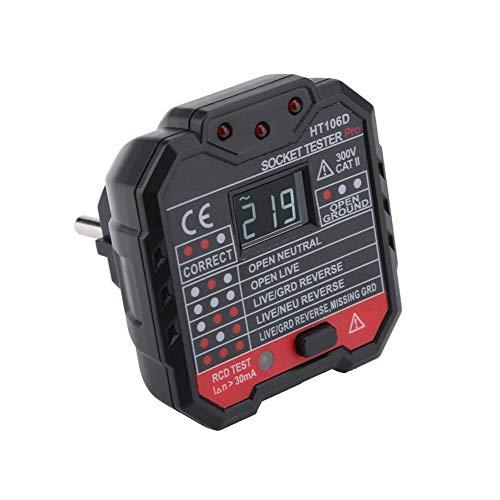 Steckdosenprüfer HT106D Draht RCD/GFCI Steckdose Tester AC 48-250 V Fault Checker(EU Plug) -