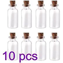 fendii 10pcs Mini vacío claro que deseen botellas viales de cristal con corcho 10 ml 22