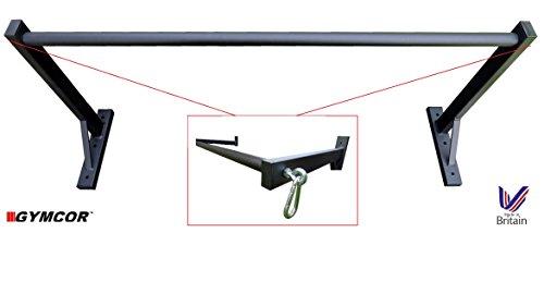 Barra de pared de dominadas con saco de boxeo o correa TRX, soportes a cada extremo, de Gymcor