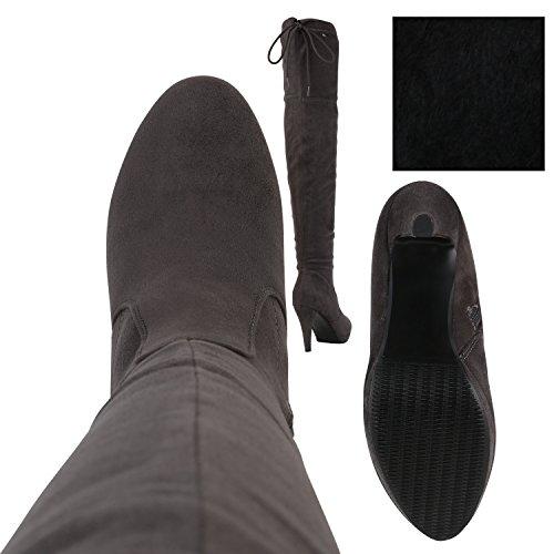 Heiße Damen Stiefel Overknees High Heels Plateau Boots Grau