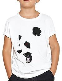 OKAPY Camiseta Panda Furioso. Una Camiseta de Niño con La Cara de Un Oso Panda. Camiseta Friki de Color Blanca