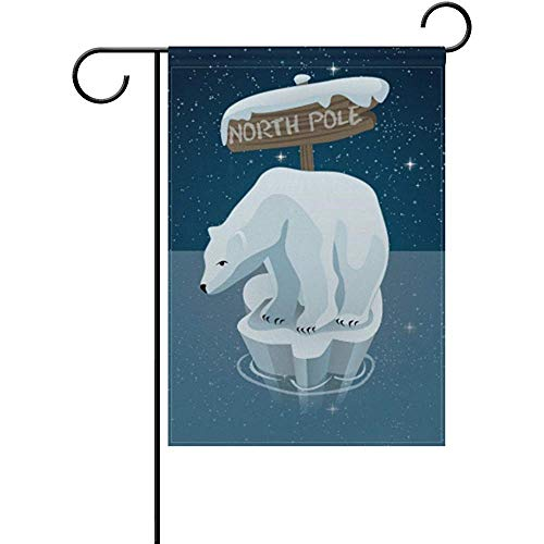 Mesllings Polar Bear in North Pole Decorative Garden Flagge Banner Polyester Welcome Seasonal Indoor Outdoor 12