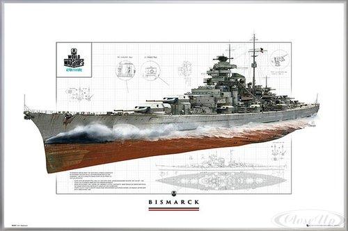 Close Up World of Warships Poster Schlachtschiff Bismarck (62x93 cm) gerahmt in: Rahmen Silber matt