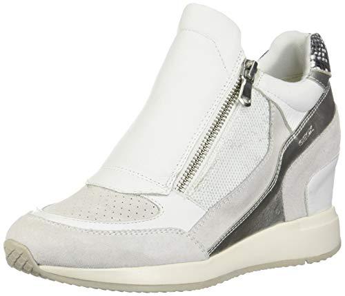 Geox Damen D NYDAME A Hohe Sneaker, Weiß (White C1000), 36 EU Classic Mid-boot