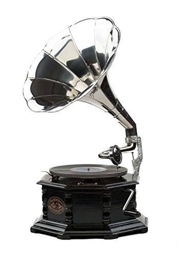 Grammofono a Tromba in Legno con Piatto in ceralacca Stile Antico