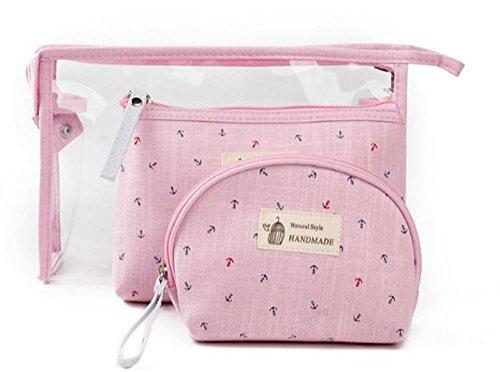 Trip Packing Case (3 Stück Klare Kosmetiktasche Set HOHE KAPAZITÄT LIGHT WEIGHT Perfekt für den Einsatz als Wash Bag Makeup Organizer Kosmetiktasche Kulturbeutel für den Innen-und Außenbereich (Rosa))