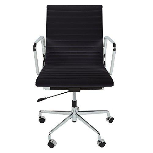 ture Bürostuhl aus echtem Leder, geriffelt, schwarz oder weiß, mit Chromfüßen und Rollen Schwarz  ()