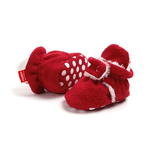 EDOTON Unisex Neugeborenes Schneestiefel Weiche Sohlen Streifen Bootie Kleinkind Stiefel Niedlich Stiefel Socke Einstellbar (0-6 Monate, Rot)