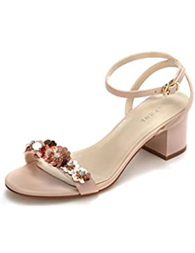 I pattini eleganti degli alti talloni fioriscono i pattini nude dei piedi dei sandali dell'inarcamento ( Colore...