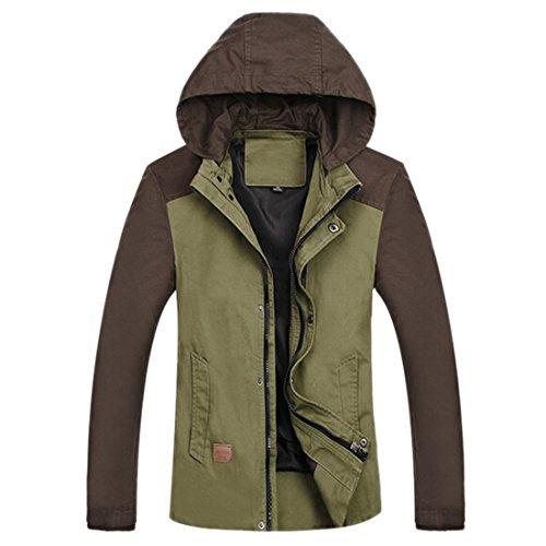 QIYUN.Z Herrenmode Baumwolljacke Im Freien Beiläufige Abnehmbare Kapuze Warme Oberbekleidung Mantel Armee Grün