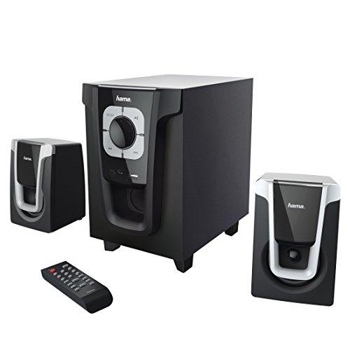 """Hama 2.1 Soundsystem mit Fernbedienung, 20W """"PR-2120"""" (für PC/TV/Smartphone/Tablet, Aktiv-Boxen mit Subwoofer, Bluetooth, USB-Anschluss, SD-Karten-Slot) Lautsprecher-System schwarz/silber"""