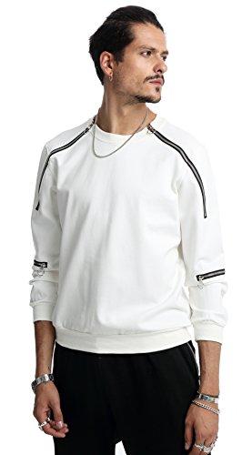 Pizoff Unisex Hip Hop Langärmliges Jersey Sweat Design T-shirt mit Reißverschluss an Schulter und Ärmel (Kids Tank Olive Top)