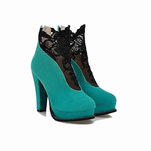 Mee Shoes Damen modern reizvoll Reißverschluss runder toe Nubukleder Lace Geschlossen Plateau Stiefel mit hohen Absätzen Blau