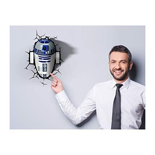 3DLightFX R2-D2-3D Lampe Star Wars-Lizenzprodukt Weiss-blau 34x26,5x11,5cm Einheitsgröße