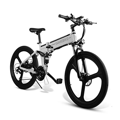Ultrey Elektrofahrrad 26 Zoll MTB E-Bike Faltende, Mountainbike Klappbar mit 350W, 48V 10.4Ah 480Wh Akku, Hochfestem Stoßdämpfung und 21 Gang Shimano Gangschaltung (Weiß)