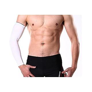 Ayouyou 1Stück Sports Arm-Hülsen Unisex weichen breathable Anti-Rutsch Quick-drying Stretch Arm Sleeves Abdeckungs Haut Schutz für Basketball, Baseball, Fußball, Rennen, Crossfit.Etc - 3 Größe (Weiß, L) EINWEG Verpackung