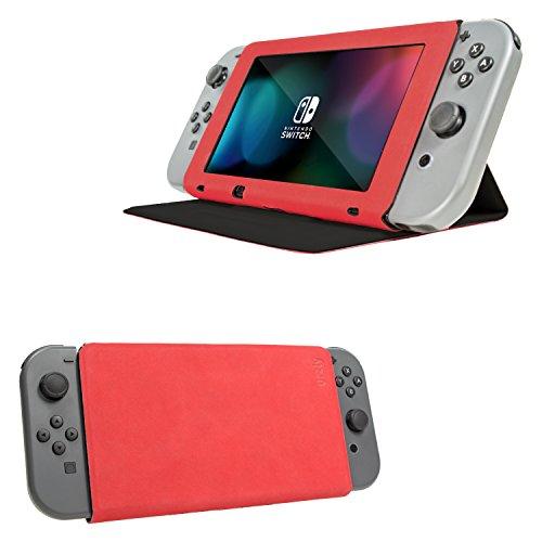 Funda de Orzly con tapa y soporte para la Nintendo Switch, Carcasa ROJA Multifuncional para la Nintendo Switch con soporte integrado y tapa protectora para la pantalla de la Nintendo Switch