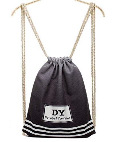 Imagen de feoya  bolsa de deporte con cordones para hombre mujer tipo saco negro