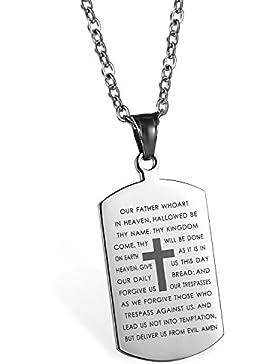 JewelryWe Schmuck Edelstahl Englisch Bibel Herr Gebet Kruzifix Kreuz Dog Tag Anhänger mit 55cm Kette, Halskette...