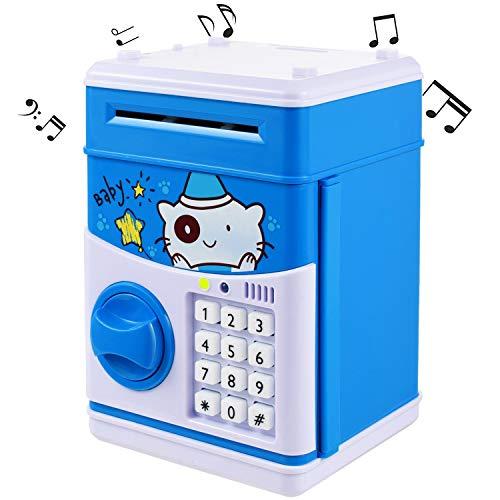 Neue Kinder Cartoon Musical Elektronische Geld Bank Sicherheit Sparschwein Mini ATM Passwort Münzen Geld Spardosen Smart Voice & Musik Eingabeaufforderung, Code Lock für Kinder Spielzeug Geschenke (Maschine Zähler Geld)