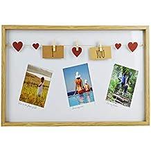 Catay Home Portafotos de Madera múltiple Pinzas decoración corazón 40x30 Centímetros
