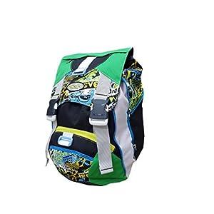 41elnlIVbNL. SS300  - Seven - Mochila Escolar Extensible (28 L, 38 x 27 x 24 cm), Color Verde y Negro