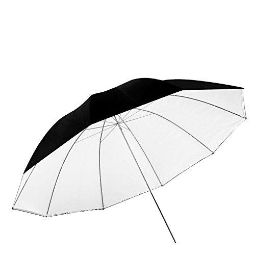 Neewer 150cm Ombrello Fotografico per Illuminazione Staccabile – Bianco Convertibile con Coperta Nera e Lato Riflettente Argento