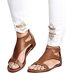 Minetom Sandalias Mujeres Bohemia Verano Planos Moda Casual Elegante Peep Toe Shoes Sandals Zapatos De Playa Romanas Retro Caqui EU 40