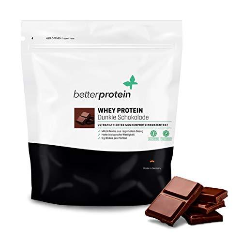 Whey Protein Dunkle Schokolade 1 kg - Made in Germany - Laborgeprüft - BetterProtein® - Eiweißpulver zum Muskelaufbau und Abnehmen - Beutel