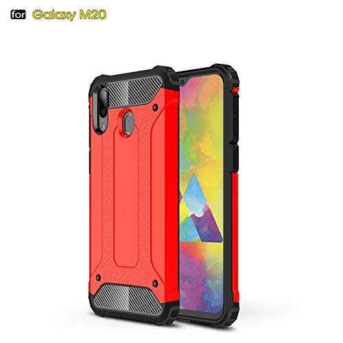 r Für Samsung Galaxy m20 dual Layer Heavy Duty hybrid rüstung robuste Art stoßfest pc + TPU schützende Hard case (Farbe : Rot) ()